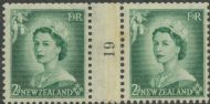 NZ Counter Coil Pair SG 726 1953 2d Queen Elizabeth II Join No. 19 (NCC/185)